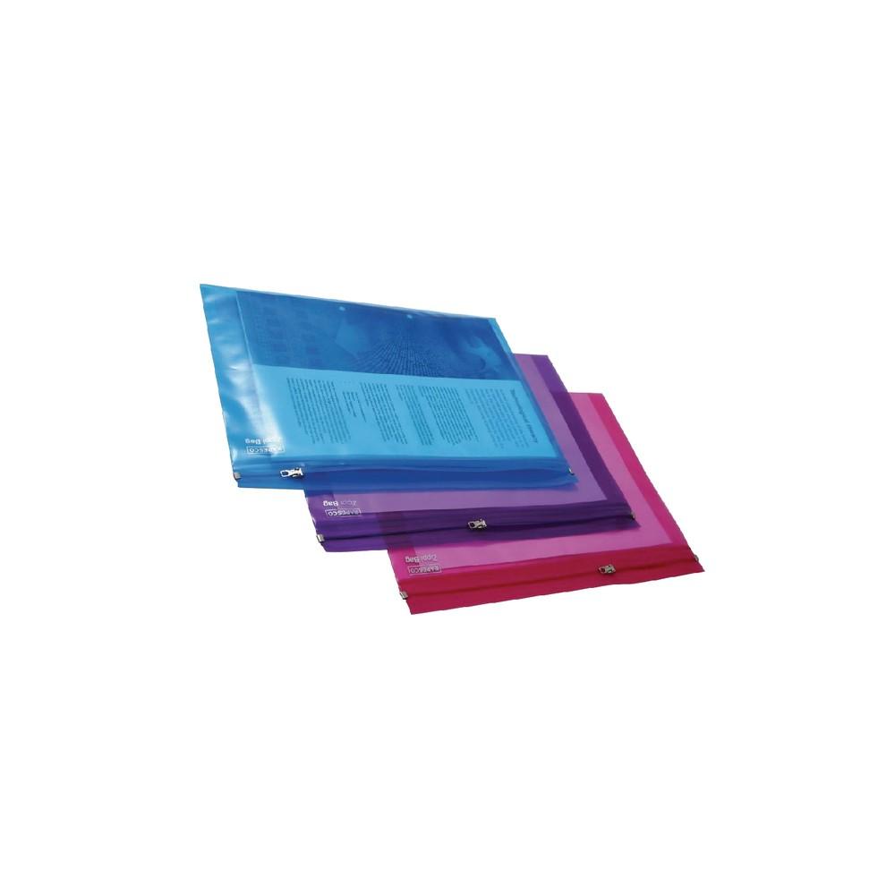 Folie protectie A4 cu fermoar metalic, asortate transparente, RAPESCO  - ACOMI.ro