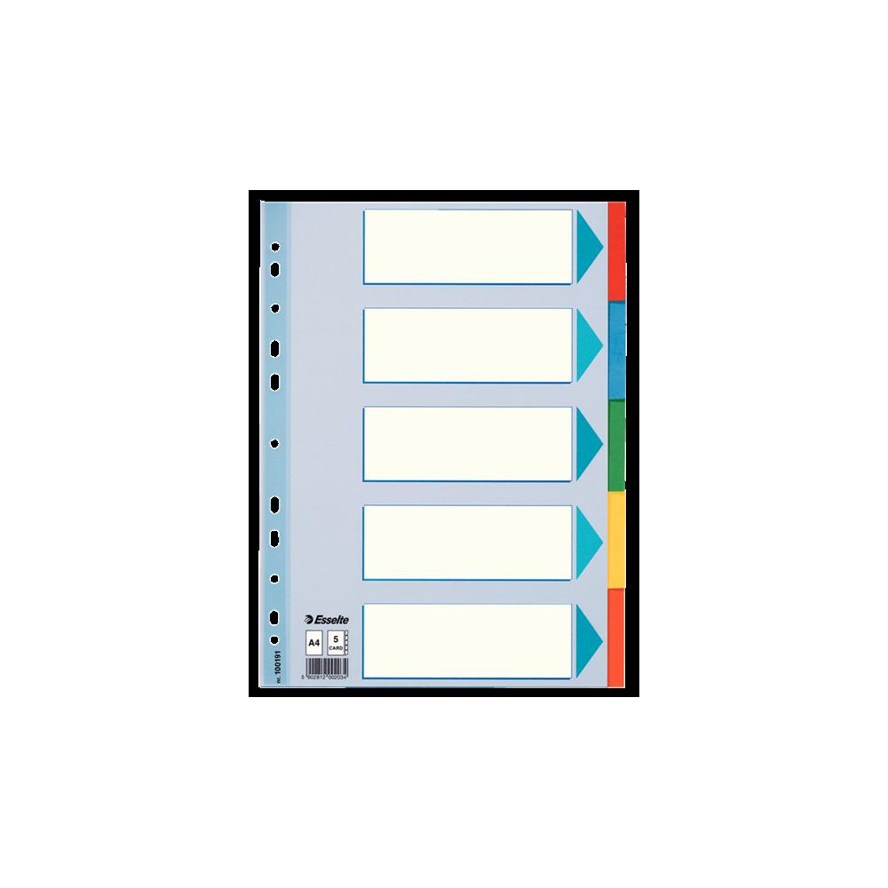 Separatoare carton A4 standard 5 coli ESSELTE - ACOMI.ro