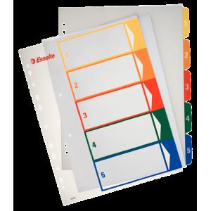 Separatoare index plastic 1-6 imprimabil ESSELTE- ACOMI.ro
