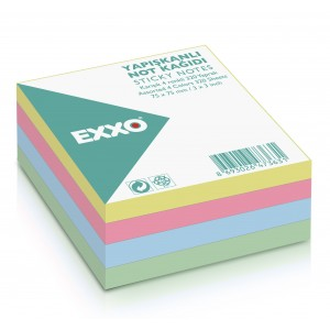 Notes autoadeziv 75x75mm, 320 file, 4 culori pastel EXXO - ACOMI.ro