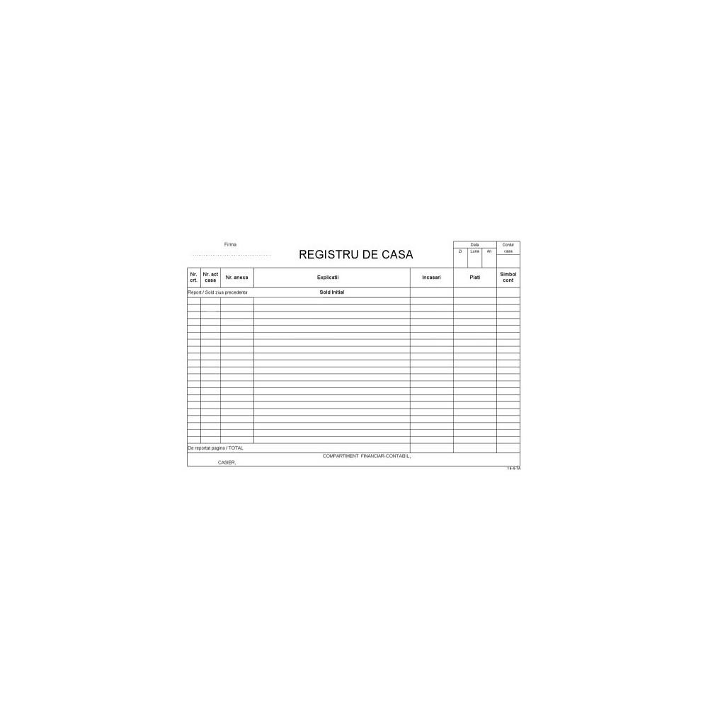Registru casa A4, 100 file/carnet - ACOMI.ro