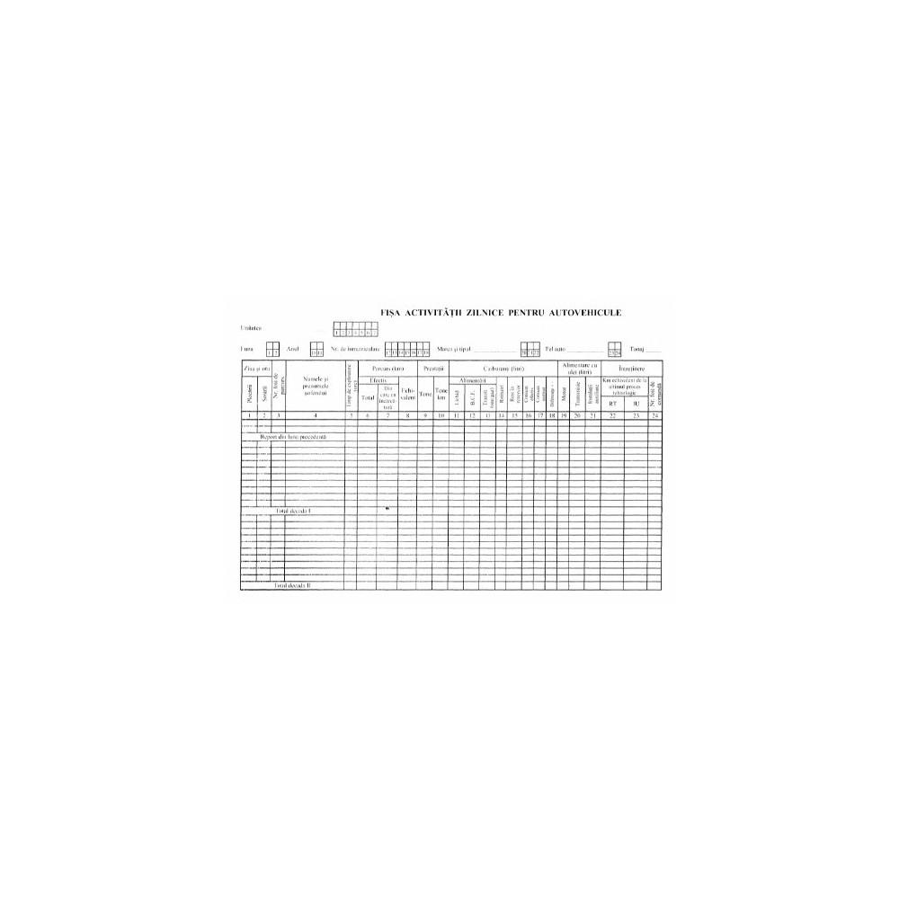 Formular activitati zilnice auto carnet - ACOMI.ro